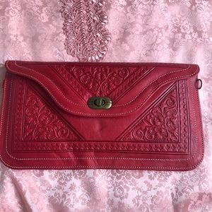 Nice Red Moroccan Leather Handbag with Strap